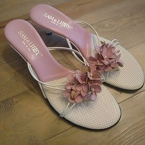 Sam and Libby pink and white slide sandals